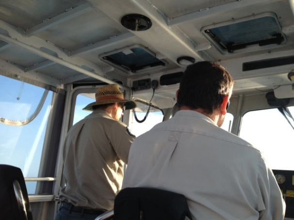 National Parks rangers Paul & Darren taking us over to the island for the day